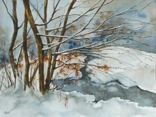 Aquarelle,paysage,arbres,hiver,lac