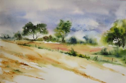 aquarelle,abby,paysage,campagne,promeneur,chemin,arbres,fleurs,chien,forêt,champs