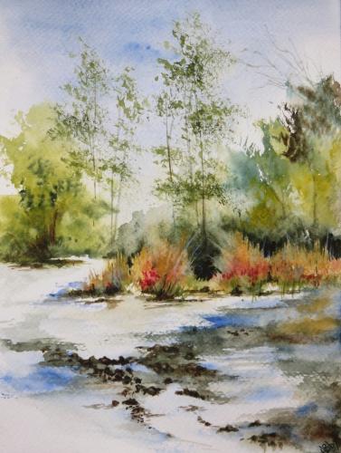aquarelle,abby,paysage,rivière,campagne,arbres,ruisseau,reflets
