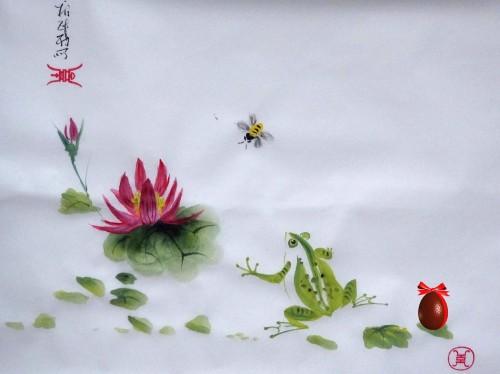 aquarelle,papier de riz,chine,peinture chinoise,abby,oiseau,fleur,xie yi,spontané,aquarelle chinoise,nature,grenouille,nénuphar