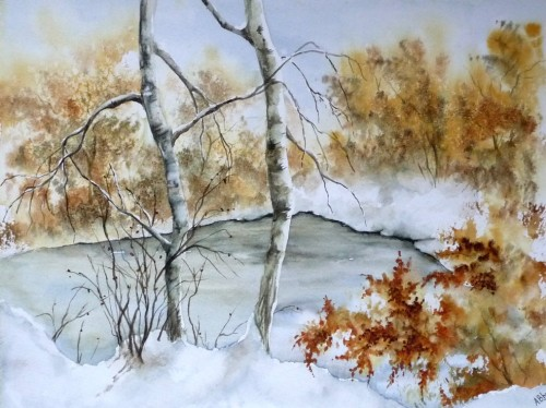 aquarelle,hiver,arbres,lac,étang gelé,paysage