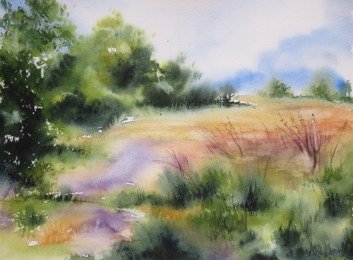 aquarelle,abby,paysage,campagne,champ,arbres,chemin