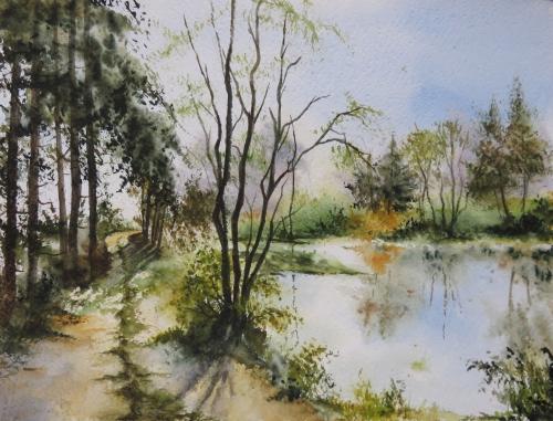 aquarelle,abby,cabane,arbres,forêt,paysage,campagne,sous-bois,chemin,étang,lac