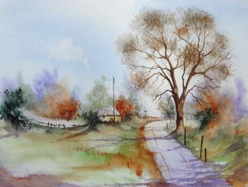 aquarelle,campagne,paysage,arbres,maison,abby,route,champ,ardennes