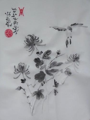 aquarelle,peinture chinoise,peinture japonaise,sumie,sumi-e,bambous,chrysanthème,oiseaux,abby,encre