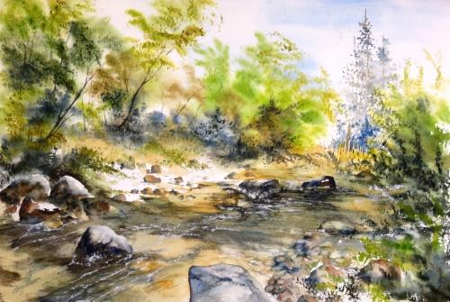 aquarelle,abby,cabane,arbres,forêt,paysage,campagne,sous-bois,rivière,ruisseau,torrent,rochers,été
