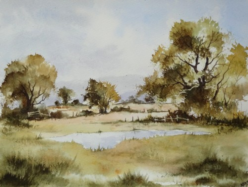 aquarelle,paysage,anglais,arbres,mare,étang,lac,campagne,abby