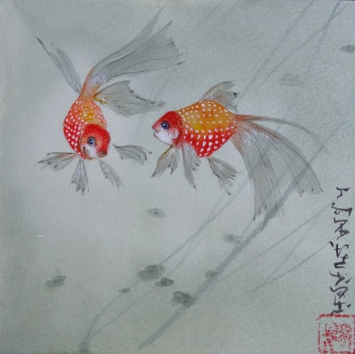 aquarelle,abby,poissons rouges,peinture chinoise,animaux,nature,watercolor