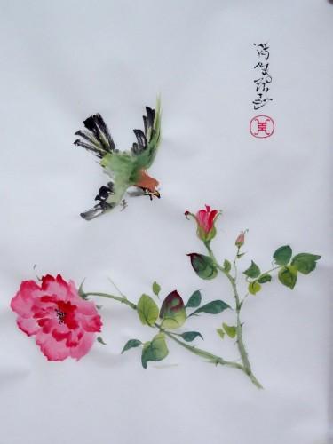 aquarelle,papier de riz,chine,peinture chinoise,abby,oiseau,fleur,xie yi,spontané,aquarelle chinoise,nature,Xieyi,rose,oiseau,pivoine