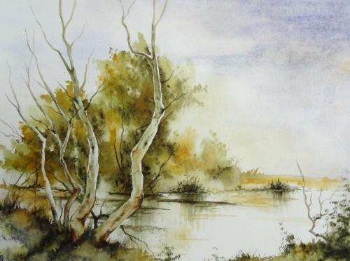 aquarelle,abby,cabane,arbres,forêt,paysage,campagne,sous-bois,étang,lac,reflets