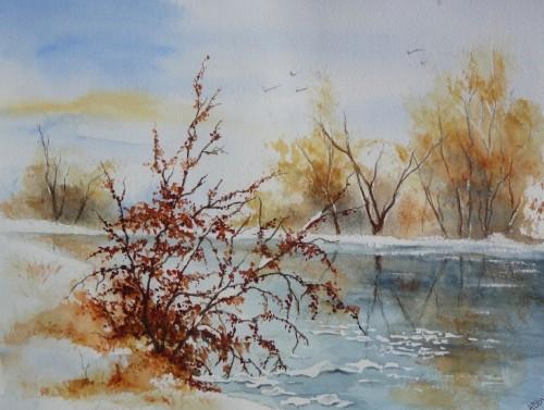 aquarelle,abby,paysage,neige,hiver,arbres,froid,village,étang,lac gelé,glace