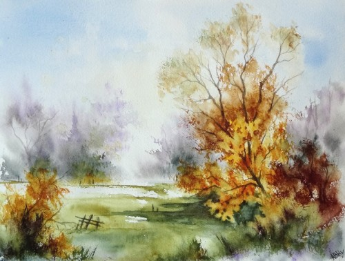 aquarelle,paysage,abby,arbres,ardennes,champ,nature,campagne