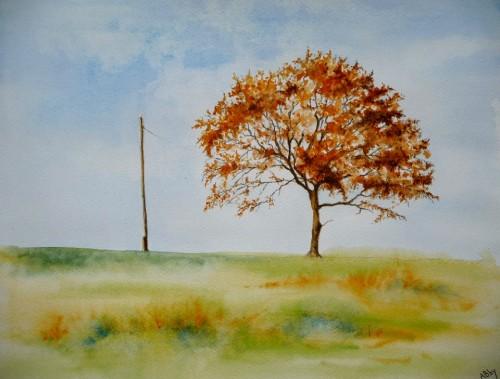 aquarelle,paysage,abby,arbres,sous-bois,forêt,automne