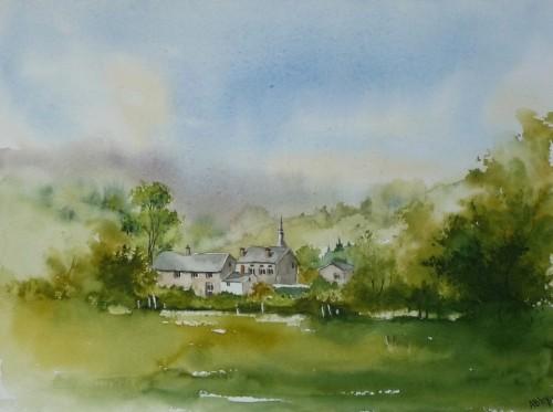 aquarelle,village,paysage,campagne,arbres,ardennes,famenne