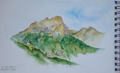 aquarelle,croquis,montagne,alpes,dolomites