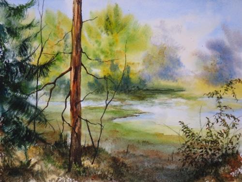 aquarelle,abby,paysage,campagne,arbres,sapin,eau,lac,étang,été
