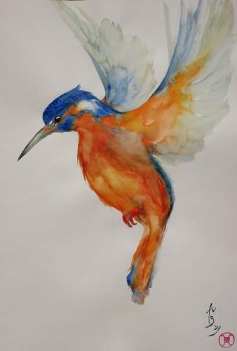 aquarelle,abby;oiseau,martin-pêcheur,nature,campagne,