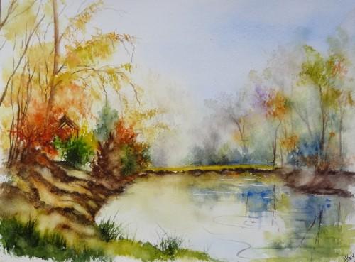 ,aquarelle,paysage,lac,reflets,étangs,abby,arbres