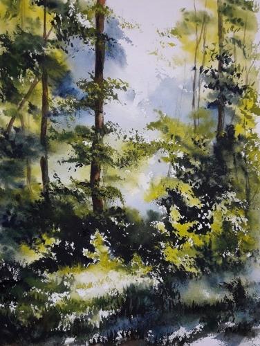 Aquarelle,abby,paysage,forêt,watercolor,peinture,art,nature,arbres,sous-bois
