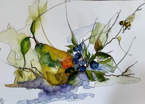 aquarelles,watercolor,fleurs,insectes,oiseaux,sumie,abby