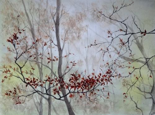 aquarelle,paysage,abby,arbres,sous-bois,forêt,automne,brume,brouillard,branches