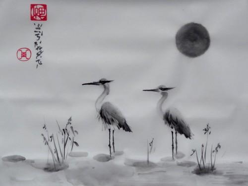 aquarelle,peinture chinoise,peinture japonaise,sumie,sumi-e,hérons,oiseaux,abby,encre