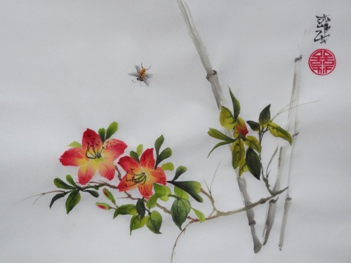 aquarelle,peinture chinoise,sumi-e,sumie,oiseau,fleur,rose,abby