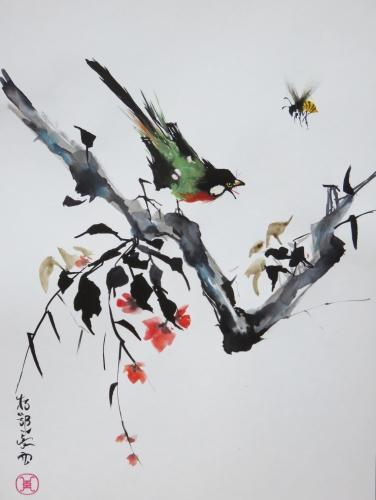aquarelle,encre,oiseau,abeille,insecte,sumie,xieyi,style spontané, peinture chinoise, peinture asiatique,peinture jaonaise,abby