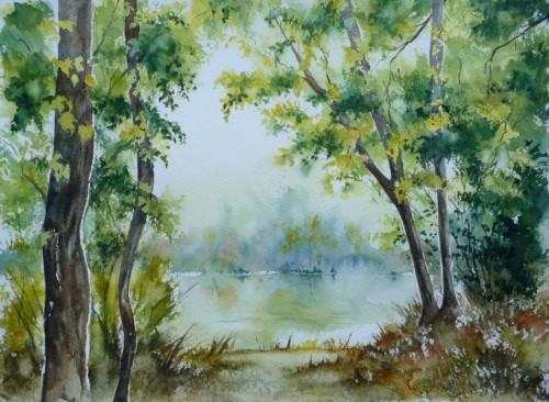 rivière,forêt,reflets,aquarelle,arbres,eau