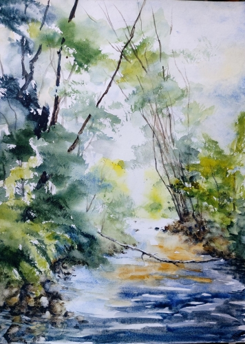 aquarelle,abby,paysage,bois,forêt,arbres,barrière,campagne,watercolor,rivière