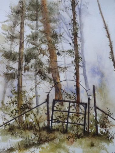 aquarelle,abb,arbres,forêt,paysage,campagne,sous-bois,barrière