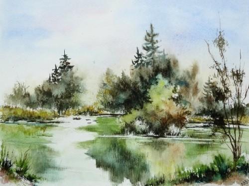 aquarelle,paysage,abby,campagne,arbres,reflets,eau,lac,étang,printemps