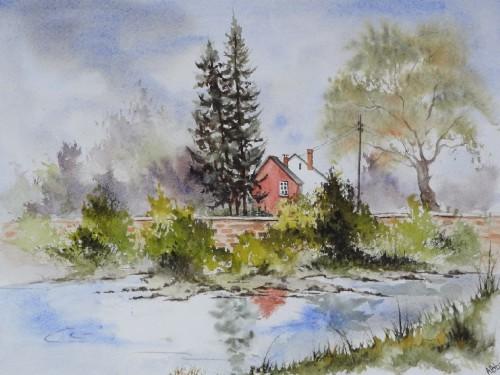 aquarelle,paysage,abby,campagne,arbres,sous-bois,forêt,printemps,arbres,reflets,eau,lac,étang,rivière,rochefort,lomme