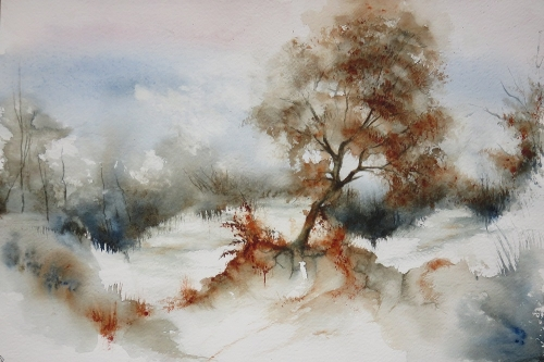 aquarelle,abby,hiver,neige,arbre,froid,paysage