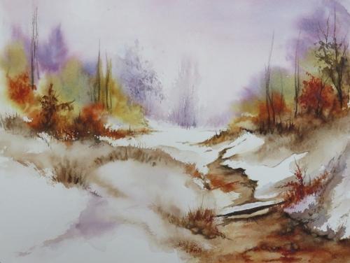 aquarelle,abby,paysage,neige,hiver,pont,arbres