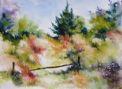 aquarelle,abby,paysage,rivière,campagne,arbres,ruisseau,reflets,chemin,lac,étang