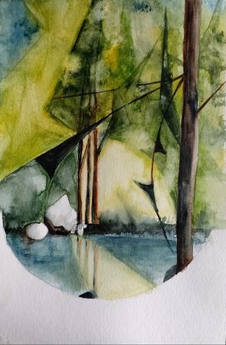 aquarelle,abby,paysage,abstrait,watercolor,rivière,arbres