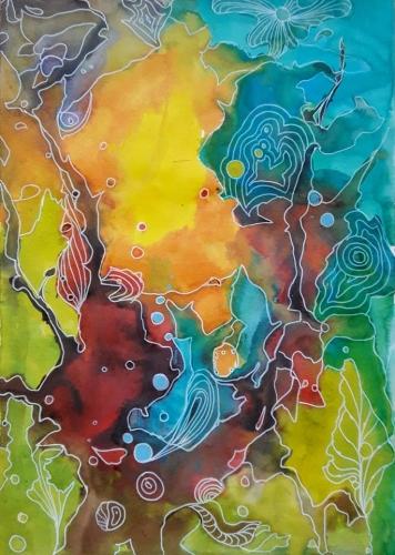 abby,encres,fleurs,auquarelle,encres colorées,colorex,abstrait