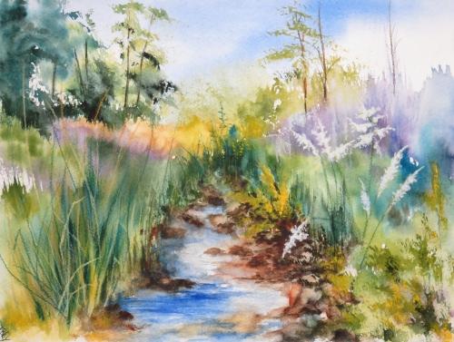 aquarelle,abby,paysage,lac,rivière,eau,barque,reflets,chemin,torrent,campagne