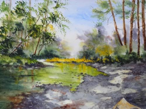 aquarelle,paysage,abby,campagne,rivière,reflets,arbres,rochers,plage