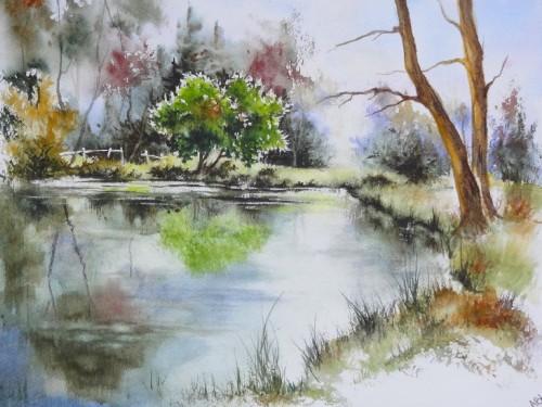 aquarelle,paysage,abby,campagne,arbres,sous-bois,forêt,printemps,arbres,reflets,eau,lac,étang