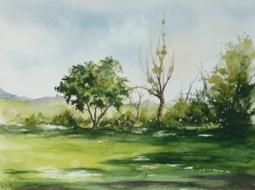 aquarelle,paysage,campagne,arbres,ardennes