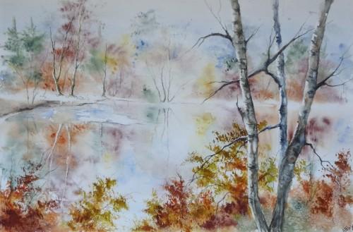 aquarelle,paysage,abby,arbres,sous-bois,forêt,hiver,neige,étang,lac,reflets,ardennes