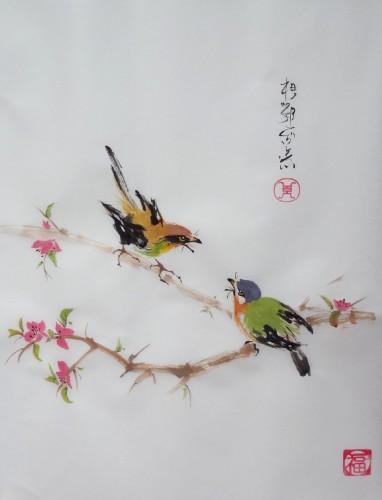 aquarelle,papier de riz,chine,peinture chinoise,abby,oiseau,fleur,xie yi,spontané,aquarelle chinoise,nature,Xieyi