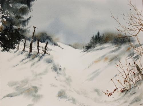 aquarelle,abby,arbres,forêt,paysage,campagne,sous-bois,neige,hiver,merle