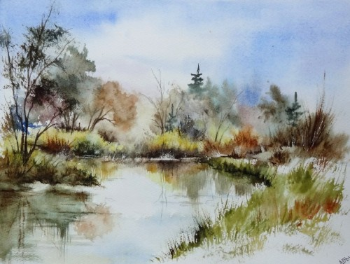 aquarelle,campagne,paysage,abby,arbres,reflets,lac,étang,eau,abby