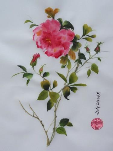 aquarelle,fleur,rose,papier de riz,peinture chinoise,sumi-e,sumie,abby
