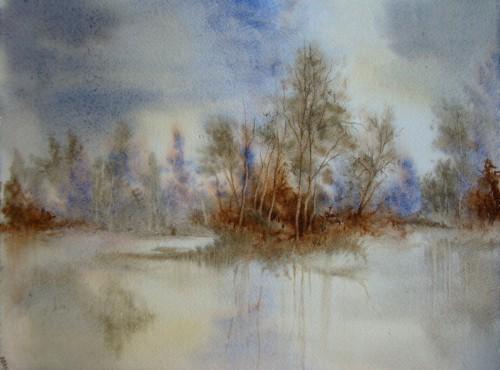 aquarelle,paysage,abby,campagne,arbres,sous-bois,forêt,printemps,arbres,reflets,eau,lac,étang,rivière,rochefort,hiver,arbres,bosquet,brume,brouillard