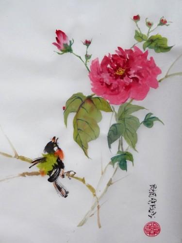 aquarelle,papier de riz,chine,peinture chinoise,abby,oiseau,fleur,xie yi,spontané,aquarelle chinoise,nature