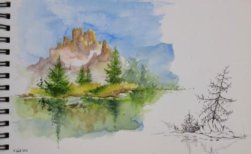 aquarelle,lac,abby,montagne,reflets,eau,croquis,dolomites